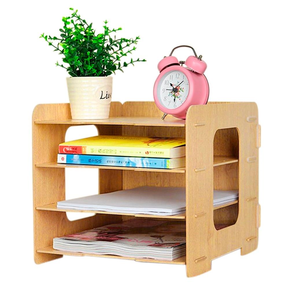 Desktop Bookshelves: Desktop Bookshelf Wood DIY 4 Compartments Literature A4