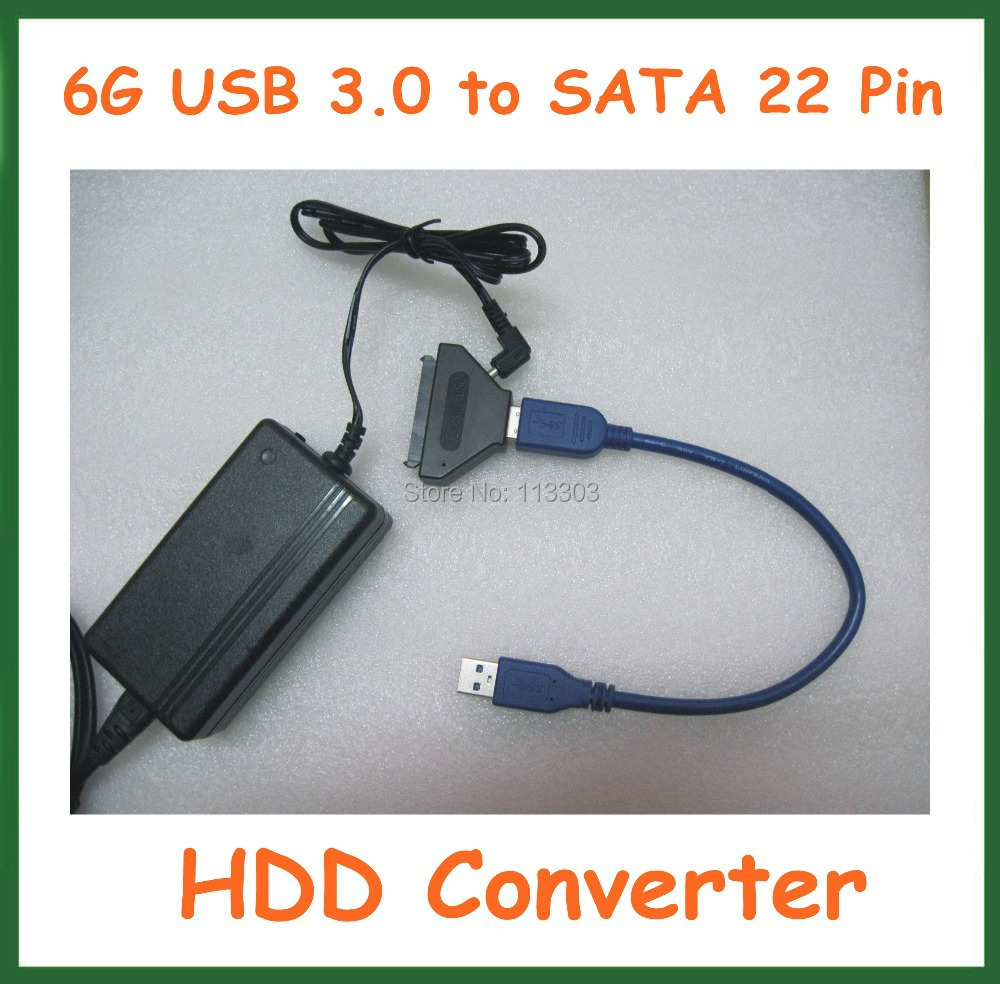 High Speed 6G USB 3.0 to SATA 22 Pin HDD Converter with Power Supply Adapter 12V 2A