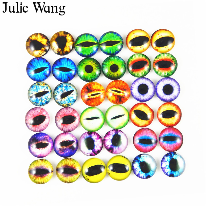 Julie Wang 50pcs 6mm/8mm/10mm Glass Round Dragon Lizard Frog Vivid Eyes Cabochons For Necklace Pendant Jewelry Making Accessory(China)