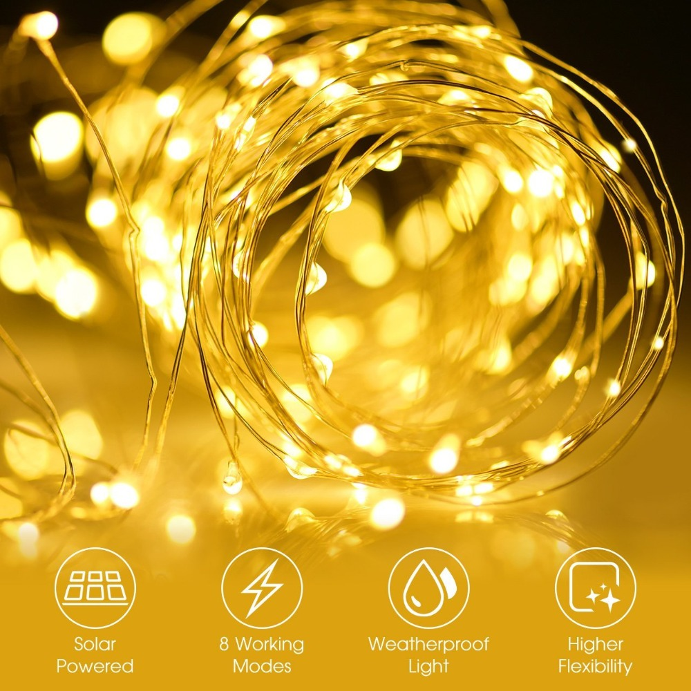 New Year light LEDs Outdoor  solar String Lights Fairy Holiday Christmas Party Garlands Solar Garden Helloween Decoration 10