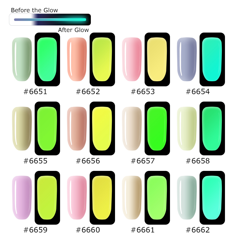 Vrenmol Pink Color Fluorescent Luminous Nail Polish Soak Off UV Gel Night Glow In Dark Gloss Semic Permanent Gel Varnishes in Nail Gel from Beauty Health