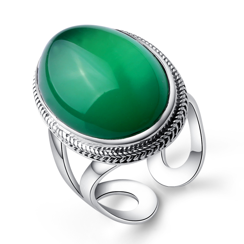 2.3*1.7cm Female jewelry 925 Sterling silver natural Semi-precious stones green chalcedony Bohemia retro big rings lovers gift 925 sterling silver jewelry natural semi precious stones retro yellow chalcedony earring classical retro girlfriend gift
