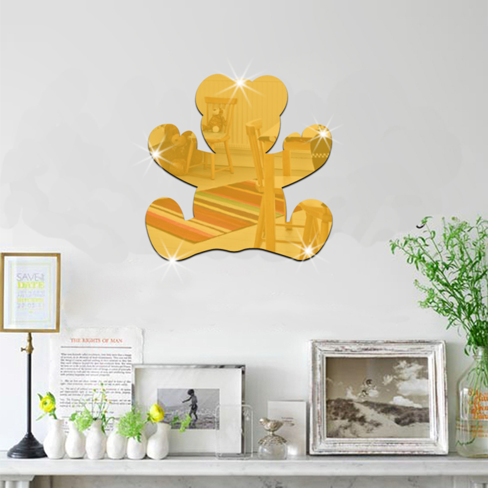 3D stereoscopic wall stickers cartoon bear acrylic mirror stickers ...