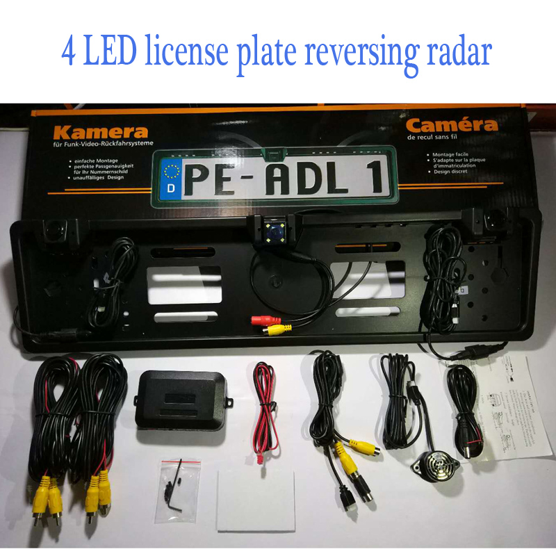 4 LED Camera EU Car License Rearview Camera Plate Frame Russian license plate camera Two Reversing Radar Parking Sensors 2017 car parking sensors kit car led europe license plate frame rearview camera 4 3 car tft monitor speaker parking assistance
