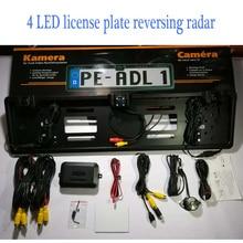 цена на 4 LED Camera EU Car License Rearview Camera Plate Frame Russian license plate camera Two Reversing Radar Parking Sensors