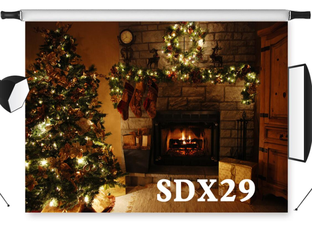 Indoor Fireplace Christmas Tree Photography Background: LB Indoor Christmas Fireplace Vinyl Photography Backdrop