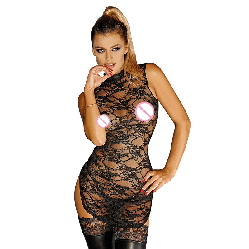 Black New Women Erotic Mini Dresses Transparent Hollow Out Chest High Quality Lace Sleeveless Sexy Bodycon Dress Hot Women Dress