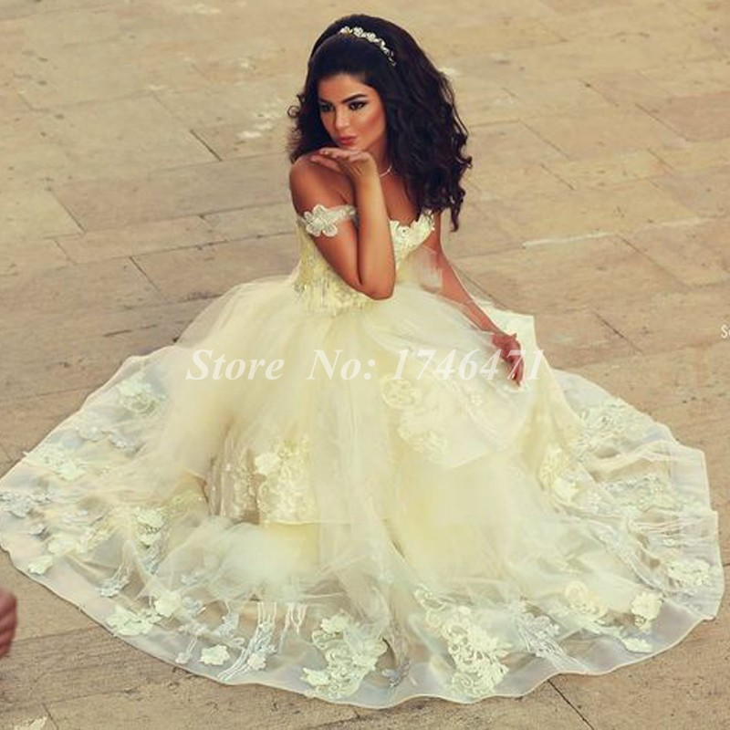 Vestidos De Novia Gorgeous Off Shoulder Liques Yellow Wedding Dress Tiered Skirt Arabic Gown Bride 2017 In Dresses From Weddings