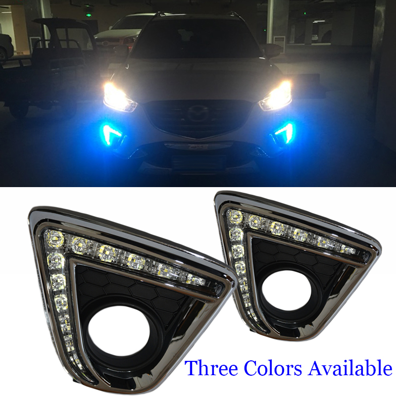 12V led car drl daytime running lights fog lamp hole for Mazda cx-5 cx5 cx 5 2012 -2016 Turn Signal and Dimming style Relay boaosi 2x h11 led canbus 5630 33 smd bulbs reflector mirror design for fog lights for mazda 3 5 6 cx 5 cx 7