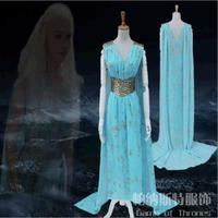 2017 New TV Game Of Thrones Season 7 Daenerys Targaryen Cosplay Wedding Dress Costume Halloween Party