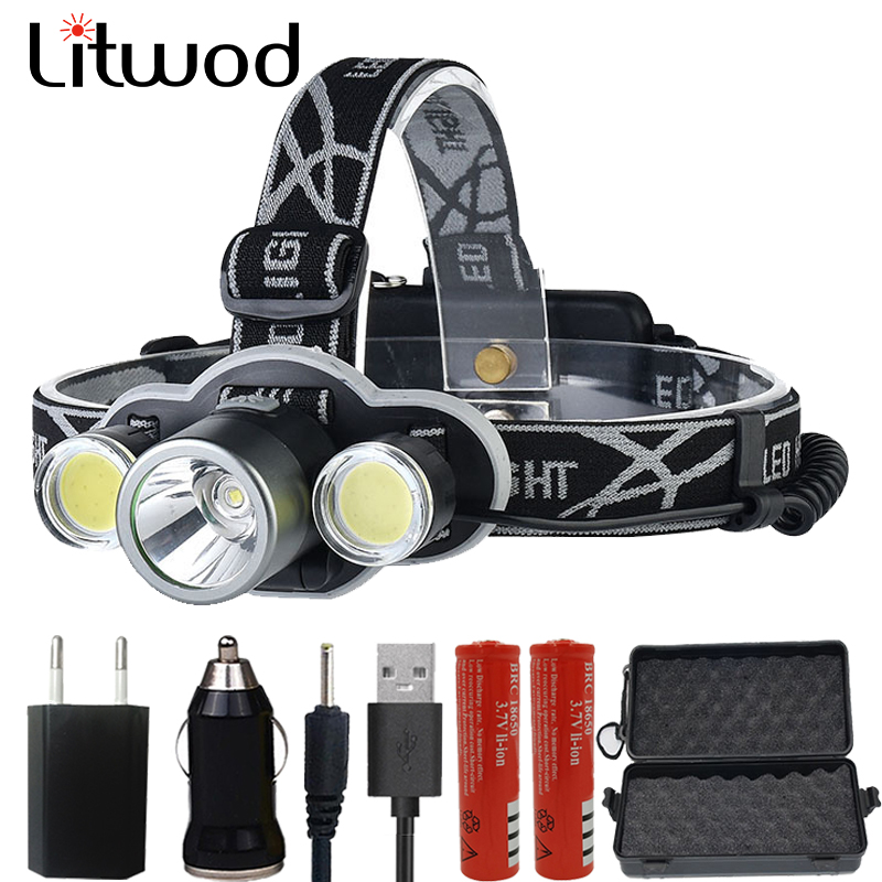 Litwod Z20 Gift set Headlight rechargeable 18650 headlamp 10000LM light head lamp XM-T6 flashlight head Torch powerbank function