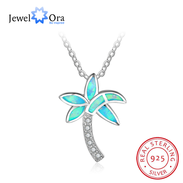 Aliexpress buy coconut tree blue opal pendant necklace party coconut tree blue opal pendant necklace party jewelry 925 sterling silver necklace pendants gift for mozeypictures Gallery