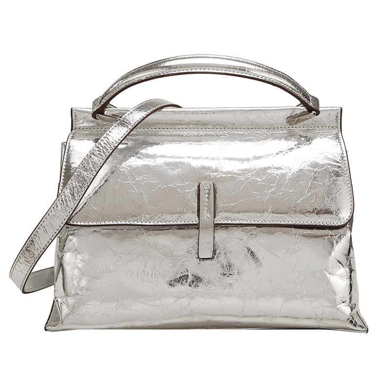 Women Fashion Handbag Top Hide Genuine Calf Leather Metallic Color Top Handle Trapeze Tote Bag WB1018
