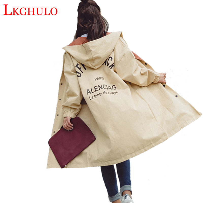 LKGHULO Women's Trench Coat Plus Size XL Hoodie Windbreaker Solid Pockets Button Lightweight Raincoat Overcoat Big Size A779(China)