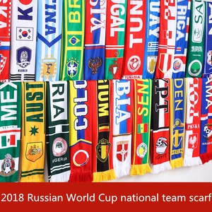 2018 Russian World Cup 32 national team scarf Football fan tassel scarf souvenir On the spot to watch the ball(China)