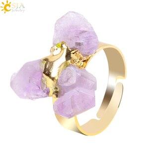 Женское кольцо с драгоценным камнем CSJA, регулируемое золотистое кольцо с драгоценным камнем и кварцевым фиолетовым кристаллом, ювелирные и...