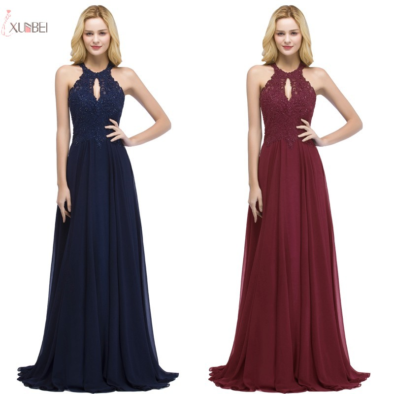 2019 Elegant Burgundy Navy Blue Pink Chiffon Long Bridesmaid Dresses Sleeveless a line Wedding Party Dress Guest vestido longo