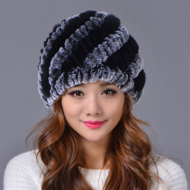 knitting rabbit hat winter cap hats for women new fashion 2016 genuine rabbit fur hat stripe fur caps