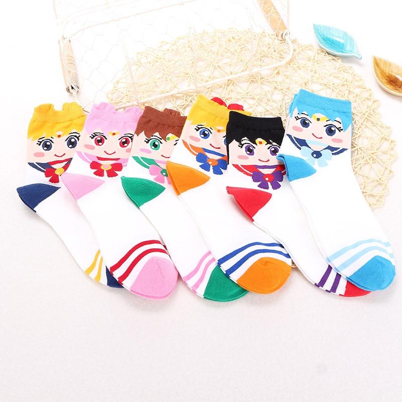 Sailor Moon Cartoon Cute Short Socks Women Harajuku Cute Ankle Socks Funny Comfortable Socks Female 6 Pairs/Set