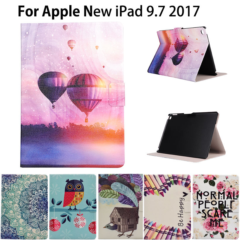 Fashion Cartoon Case For Apple New iPad 9.7 2018 2017 Case Smart Cover Funda Tablet A1822 A1823 PU Leather Flip Stand Shell pu leather book flip cover case for new ipad 9 7 2017 release a1822 a1823 model tablet folio stand cases luxury black gold