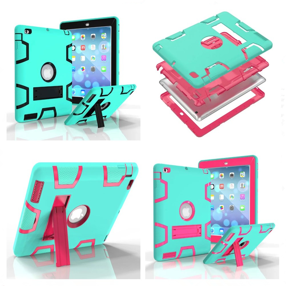 For Apple iPad2 iPad3 iPad4 Case Kids Safe Armor Shockproof Heavy Duty Silicon+PC Stand Back Case Cover For ipad 2 3 4 Tablet PC