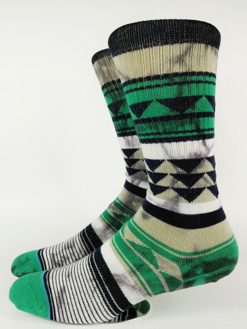 Mens Skate Green Triangle Tie Dye Crew Socks USA Size M(6-8.5),L( 9-12) ,Euro Size 39-41.5,42-45