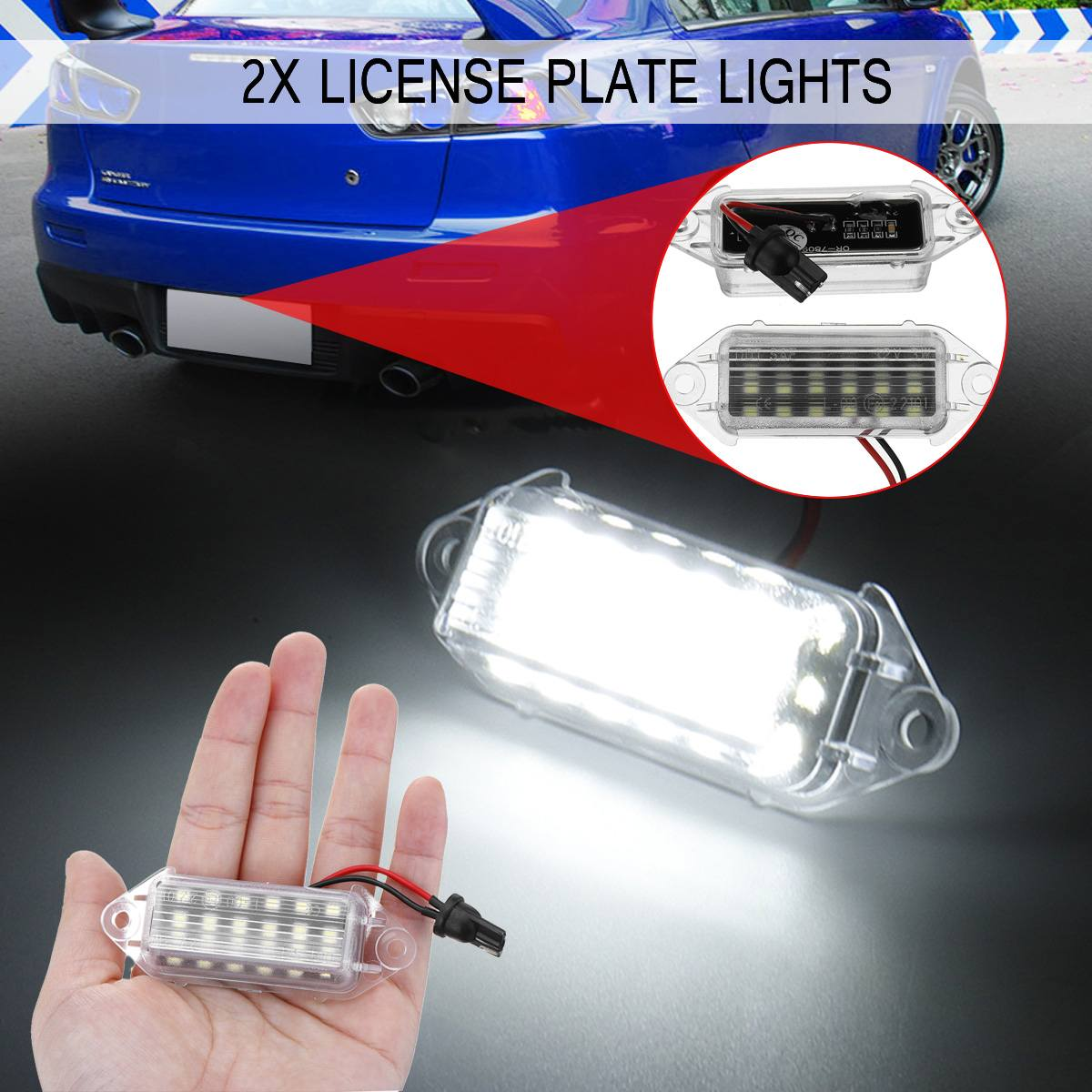 2pcs Error Free <font><b>Led</b></font> Number Plate Bulbs 18SMD White <font><b>Led</b></font> License Plate Light Lamp For <font><b>Mitsubishi</b></font> <font><b>Lancer</b></font> <font><b>X</b></font> EVO 2003-2017 image