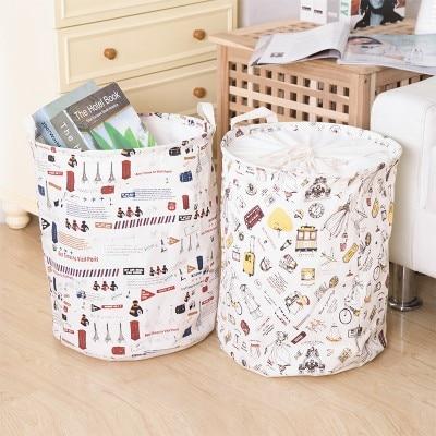 BF040 Algodón que imprime la cesta de lavadero plegable grande con la bolsa del almacenaje de la ropa de la manija los 35 * 45cm liberan el envío