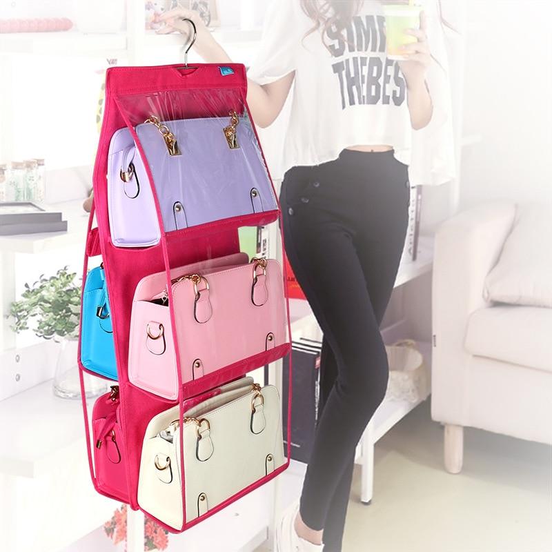 new nonwoven wardrobe storage rack organizer handbag hanger shelf purse holder bathroom rear door 6 layer storage holder hooks