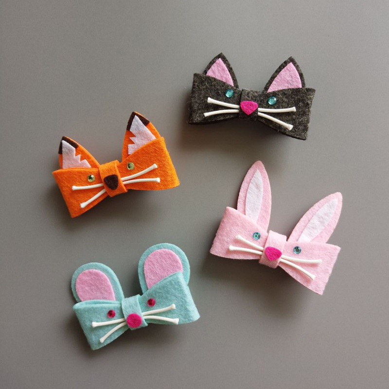 2017 New Fashion Girls Hair Clips Baby Safe Hairpin Felt Cute Fox Rabbit Mouse Cat Hair Barrettes Children Kids Hair Accessories minnie mouse ears baby girl hair clip children clips accessories kids cute hairclip for girls hairpins hair clips pins menina