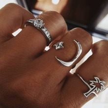 HOT Delicate Moon Star Coconut Rhinestone Rings (3pcs)Set For Women Finger Open Midi Ring Fashion Jewelry