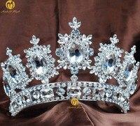 פרח מלכותי כתר תחרות נזר נקה ריינסטון קריסטל תכשיטי נשים בגימור שיער תלבושות מצעד חתונה כלות