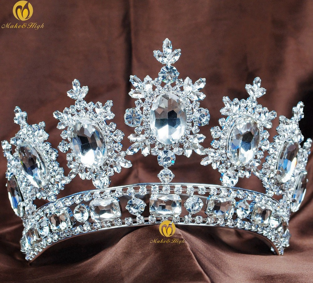 Royal Flower Pageant Crown Tiara Clear Rhinestone Crystal Women Headband Brides Wedding Parade Costumes Hair Jewelry цена
