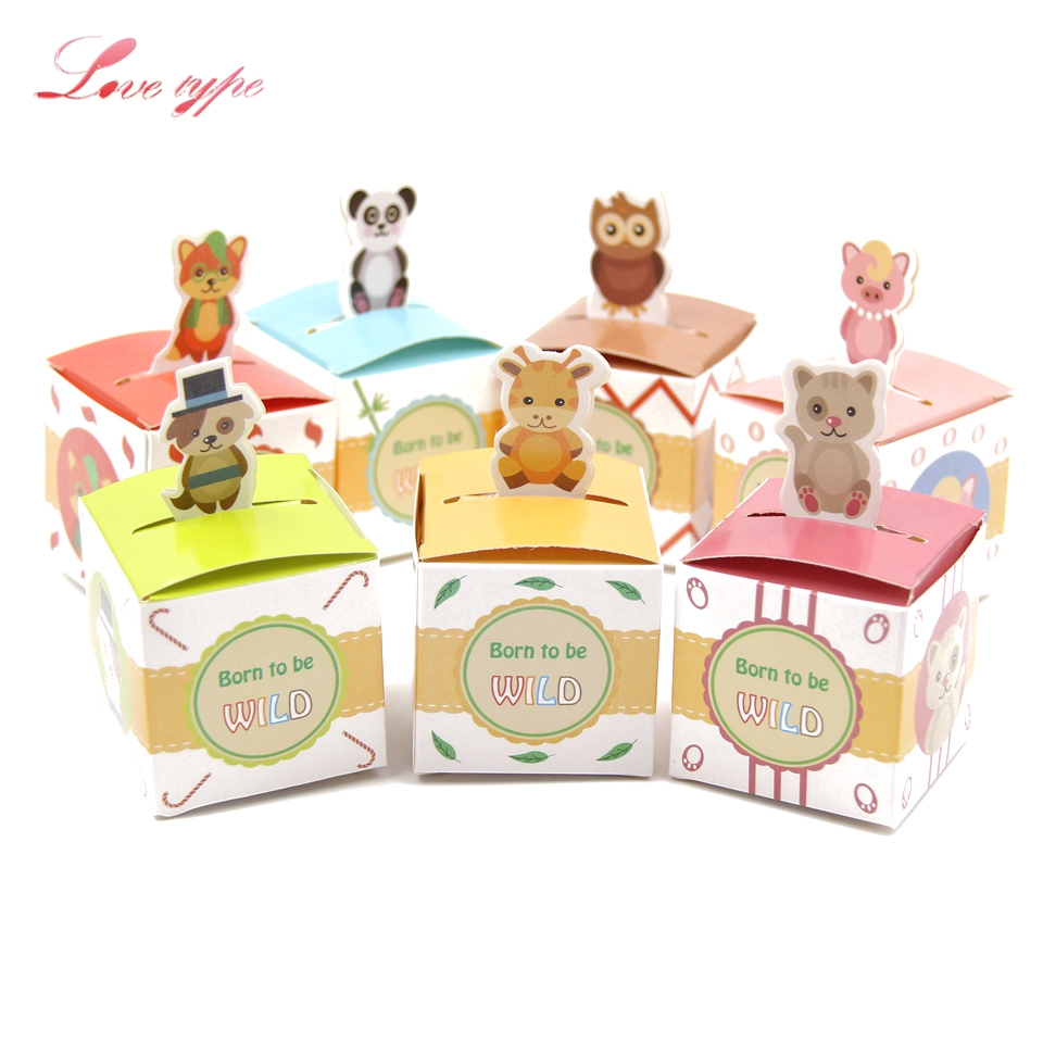 10PCS Cute Cartoon Animal Candy Gift Box DIY Paper Box For Baby Shower Favors Kids Gift Candy Box Kids Birthday Party Supplies