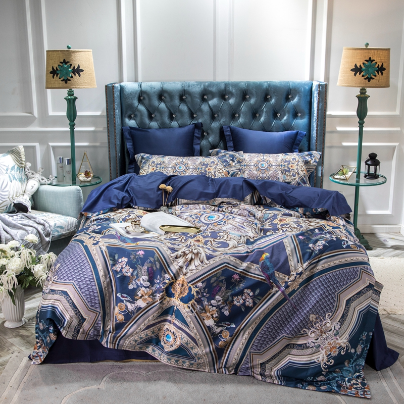 Cotton Bedding Sets King.Us 106 71 8 Off High Class 60s Egyptian Cotton Bedding Set King Size Hd Digital Print Royal Blue Duvet Cover Sets Queen Bed Sheets Spread 4pcs In