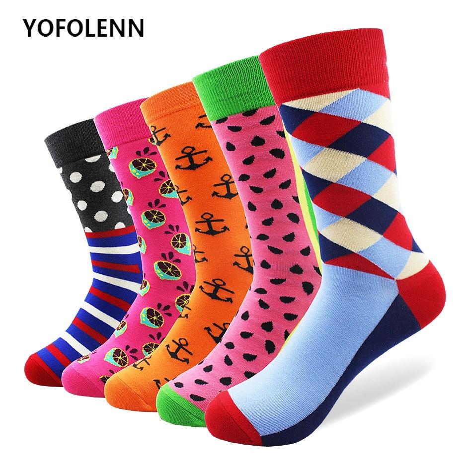 5 pair/lot Combed Cotton Men Socks Dot Stripe Watermelon Diamond Anchor Pattern High Quality Happy Funny Colored Wedding Socks