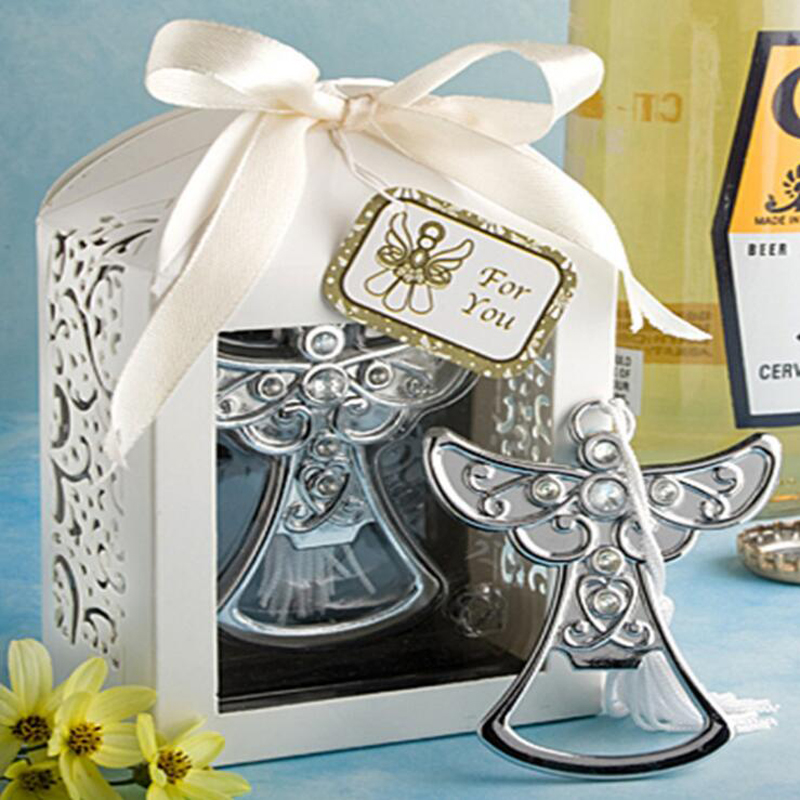 10pcs/lot Wedding Souvenir  Angel Bottle Opener Party Small Gift With Box For Wedding Decorations Accessories