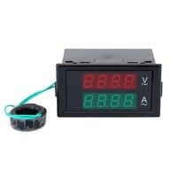 LED Digital Voltmeter Ammeter Dual Display Tester LCD Panel Amplifier Voltmeter AC 80 300V 0 100 A Measuring Instrument With Lid