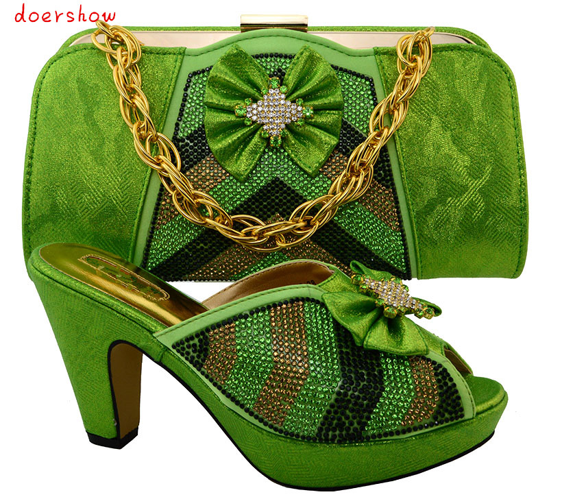 doershow Style Nigerian font b Shoes b font And Matching Bags Set With Stones Fashion High