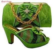 Doershow Estilo Nigeriano Sapatos E Bolsas a Condizer Com Pedras moda Dos Saltos Altos Das Senhoras Sapatos E Bolsas Para Combinar Set! HFC1-22