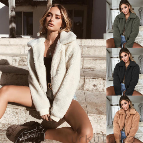 d52ece915e7 Detail Feedback Questions about Fashion Women Cardigan Fur Jacket Zipper  Long Sleeve Newly Outerwear Tops Chic Winter Warm Sweater Fluffy Coat on ...