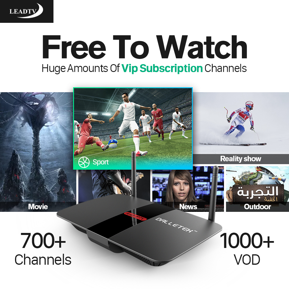 Dalletektv Smart TV Box Android Set Top Box 1 Year LEADTV Subscription Channels IPTV Europe Arabic