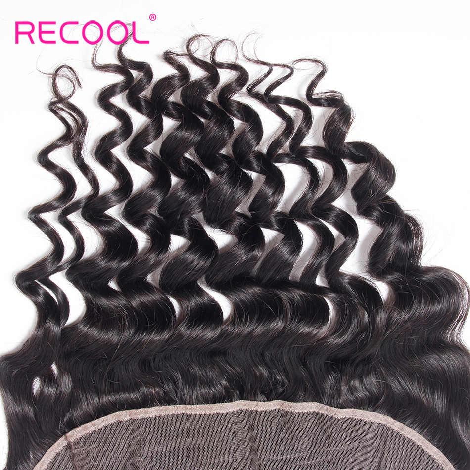 Recool Прозрачная Кружевная Фронтальная застежка 8-22 дюймов бразильские свободные глубокие Кудрявые Волнистые швейцарские кружевные Remy человеческие волосы HD Кружева Фронтальная