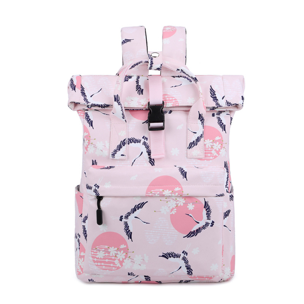 Portable Backpack College Wind Student Bag Female Korean Waterproof Polyester Print Travel Backpack in Backpacks from Luggage Bags
