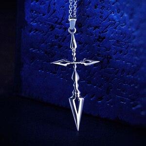 Image 4 - Fate Zero Saber Pendant Silver 925 Sterling Cross Jewelry Necklace Anime Role Emiya Kiritsugu Figure Model