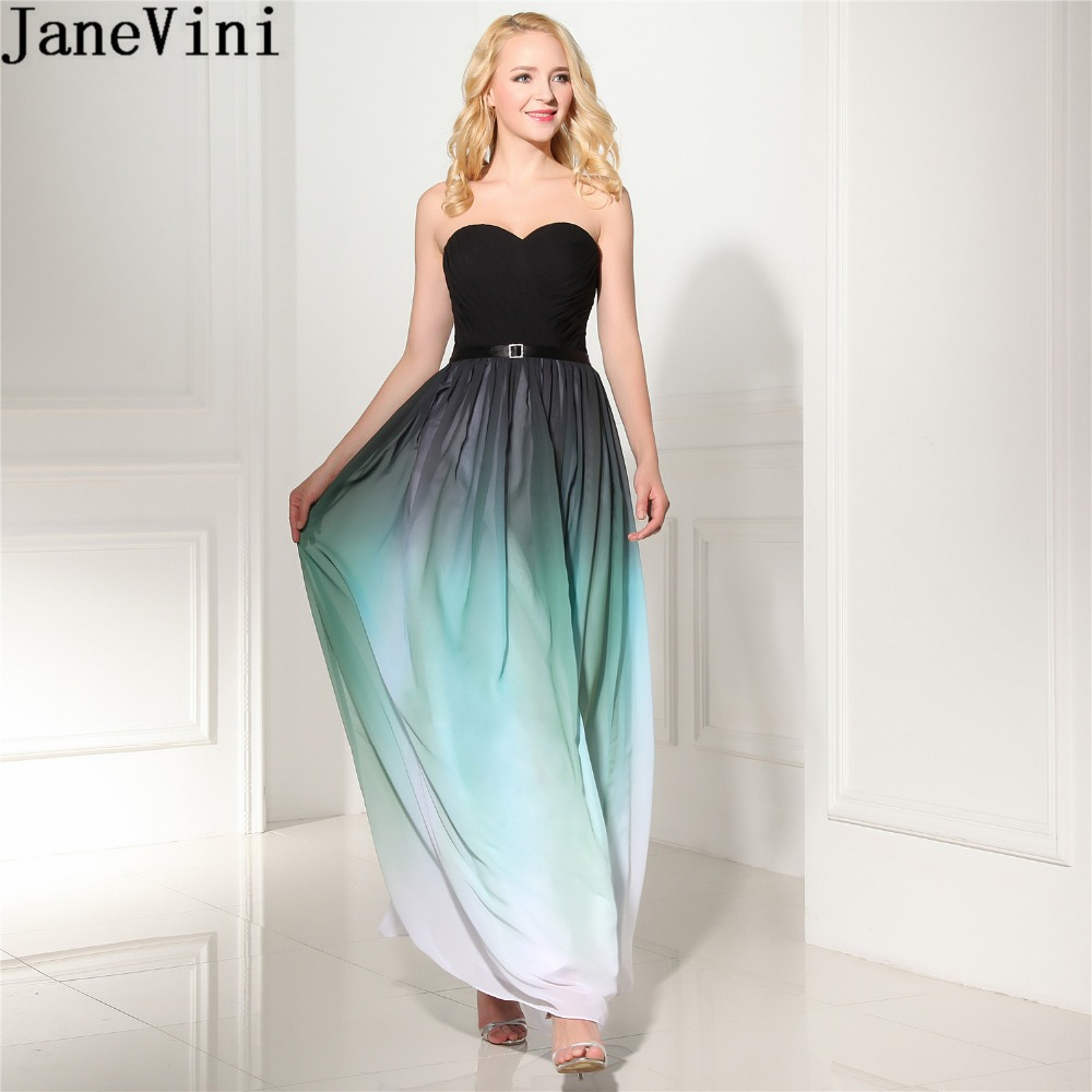 JaneVini 2018 Gradient Ladies Chiffon   Dress   Black Sweetheart Long Wedding Party Plus Size   Bridesmaid     Dress   Vintage Prom Gowns