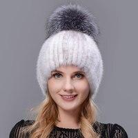 HUASHGJ2018 Winter Woman Hat Natural Mink Warm Hat Fashion Knitted Fox Hat Real Women Fur Cap