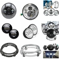 "7"" Daymaker Led Headlight Mounting Ring Bracket 7"" LED Hi/Lo Beam Head Light + 4.5"" Auxiliary Fog Spot Lamps Chrome For Harley"