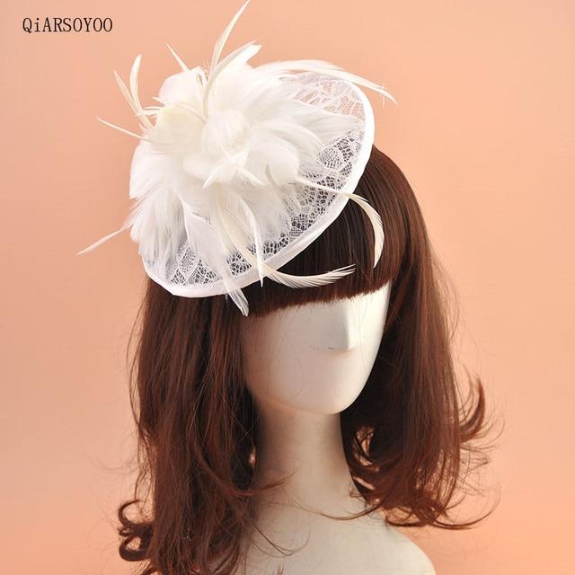 Green Blue White Black Lace Feather Gauze Fascinator Flower Hairband Bride  Fancy Headpieces Kentucky Derby Headband for Wedding 073c7dcd3f6