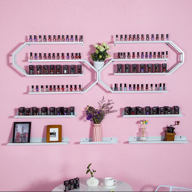 Nail salon nail polish glue display rack iron hanging wall shelving cosmetic store hanging wall storage rack - 3